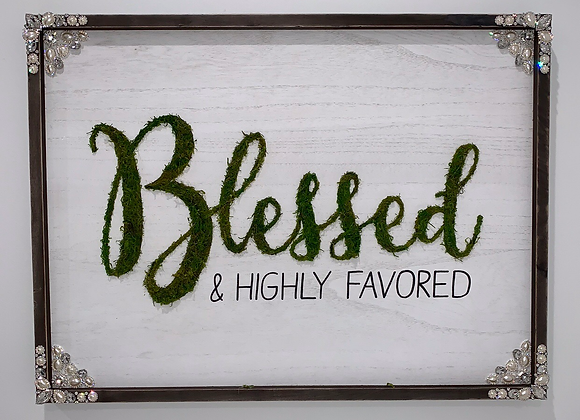 """Blessed & Highly Favored"", Moss, Wood, Wall Art, Swarovski and pearl detail"