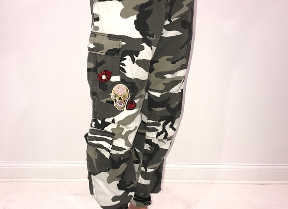 Ladies GLAMO Pants, Black/Grey Cargo, LIPS, SKULL, ROSE, PARROT, LIGHTENING BOLT