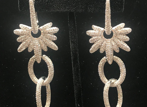 Earrings, Pierced, Dangle Snowflake Link, Sterling Silver, Cubic Zirconia