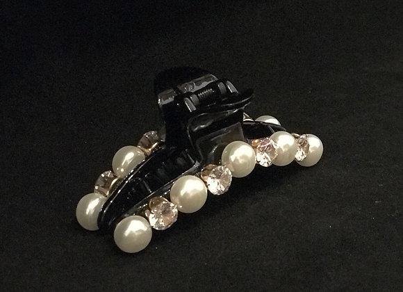 Hair Claw, Black Plastic, Pearls & Rhinestones