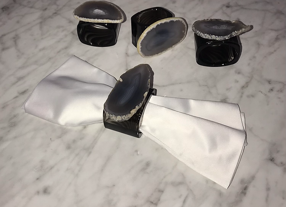 Napkin Ring Holder, Agate, Gray