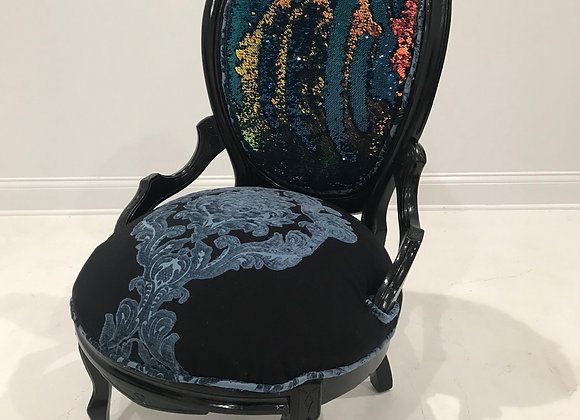 "Antique ""Flip Sequin' Chair, High Back, Black"