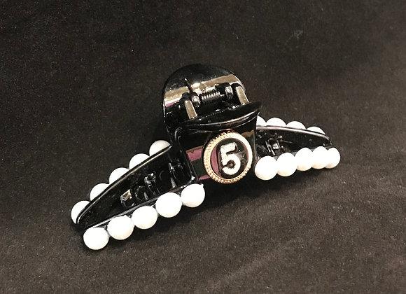 Hair Claw, Black Plastic, Chanel No. 5 Black, Pearls