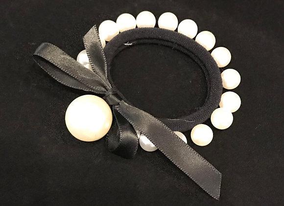 Hair Band, Elastic, Black, White Pearls, Satin Bow