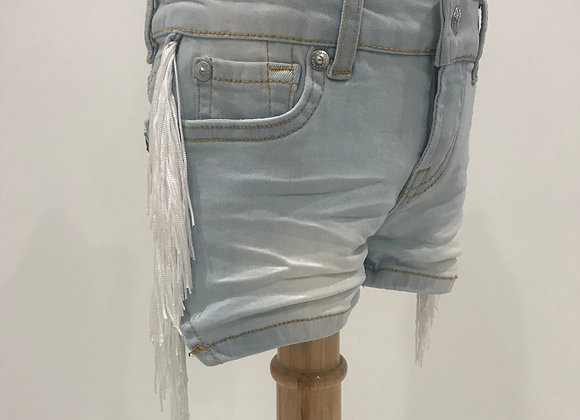 Lt. Denim Shorts, 7 FOR ALL MANKIND, White Fringe