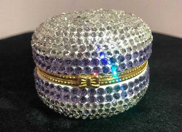 PILL CASE, Macaroon, Ceramic, White/Purple, Swarovski Crystals