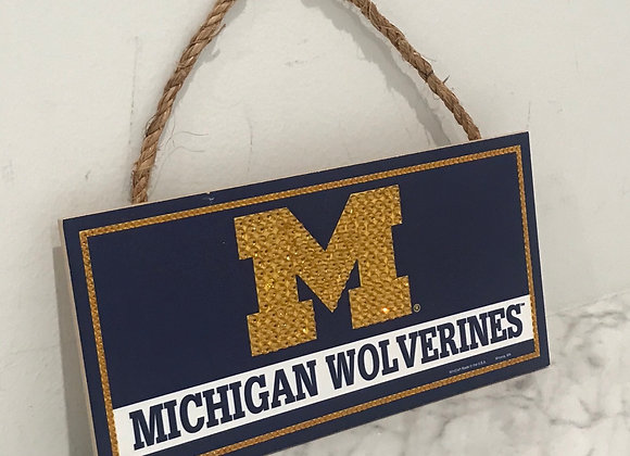 """Michigan Wolverines"" U of M Wall Art, Wood, Swarovski Crystals"