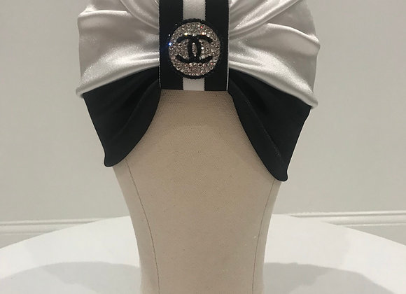 CHANEL, White/Black Satin, (S) Round Logo, Swarovski Crystal, GLAMical Turban