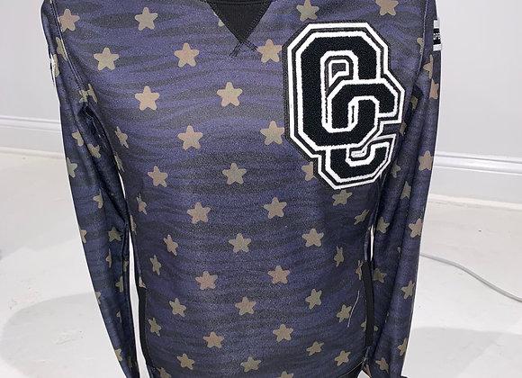 OPENING CEREMONY, Crew Neck Pullover Sweatshirt, Navy Blue Gold Stars