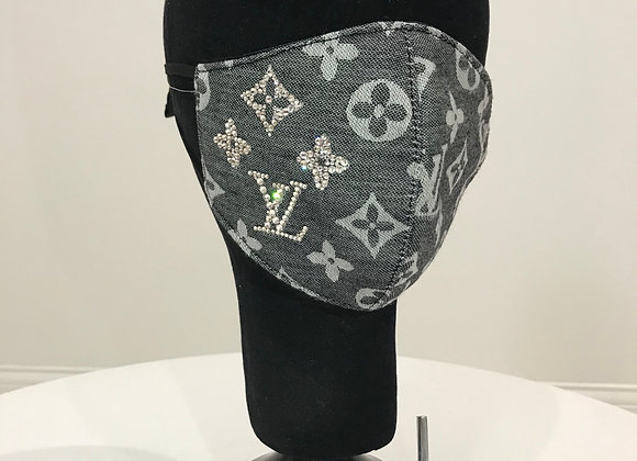 LOUIS VUITTON, Cashmere Blend, Black/Gray,Swarovski Crystals, GLAMical face mask