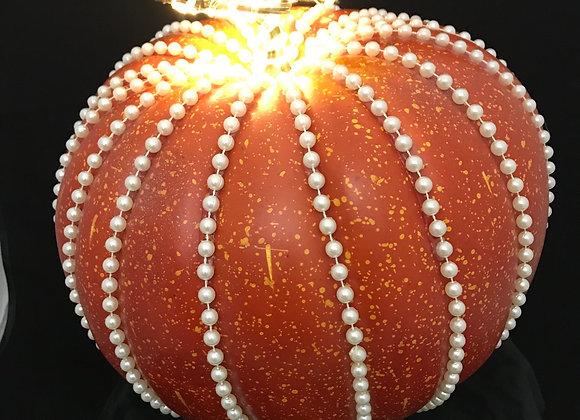 Pumpkin, Orange, Pearl Bead Trim, Lights