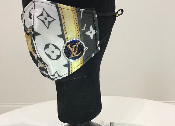LOUIS VUITTON, Silk, Black/White/Gold Chain,Swarovski Crystal,GLAMical face mask