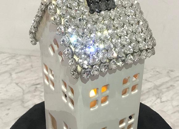 Candle Holder, House, Ceramic, LED Candle, Swarovski Crystals