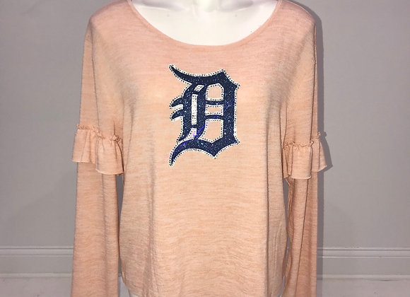 "Ladies, Detroit ""D"",  Ruffled Long Sleeve Pullover Shirt"