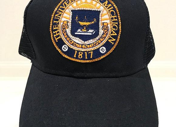 U of M Seal, Blue Twill, Baseball Hat, Swarovski Crystals