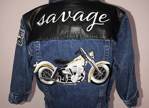SAVAGE, VANS, BEASTIE BOYS, MOTORCYCLE, Blue DenimL/S Motorcycle Jacket