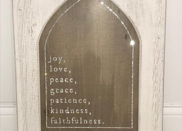 """Joy, love, peace, grace, patience, kindness, faithfullness"" Wall Art, Wood"
