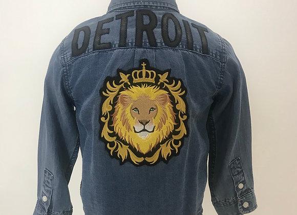 Detroit, DL1961, L/S Blue Denim Shirt Off-White Trim, Lion