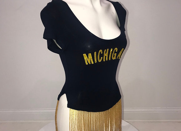 Ladies, U of M, S/S Crop Shirt, gold fringe detail