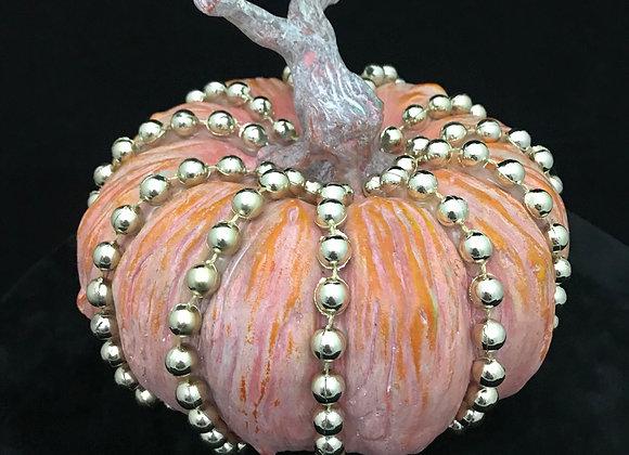 Pumpkin, Orange,  Gold Bead Trim