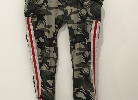 Cargo Pants, SHIH, Army Green Camo, Red/Silver Trim/Heart patch