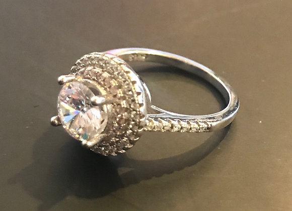 Ring, Cubic Zirconia - Round Clear