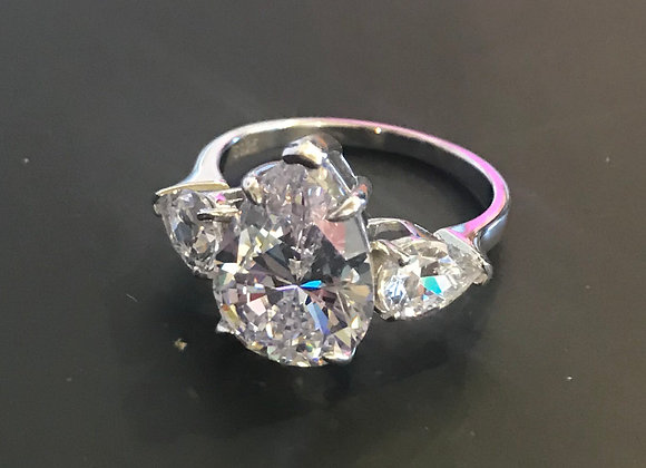 Ring, Tear Drop, Cubic Zirconia - Clear