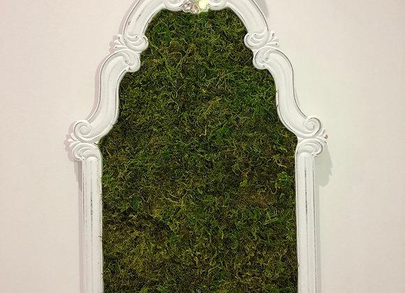 Framed moss tack board/pin board, Crystal detail