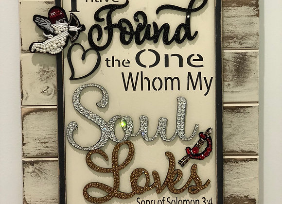 """I have found the one whom my soul loves"" Wall Art, Wood, Swarovski Crystals"
