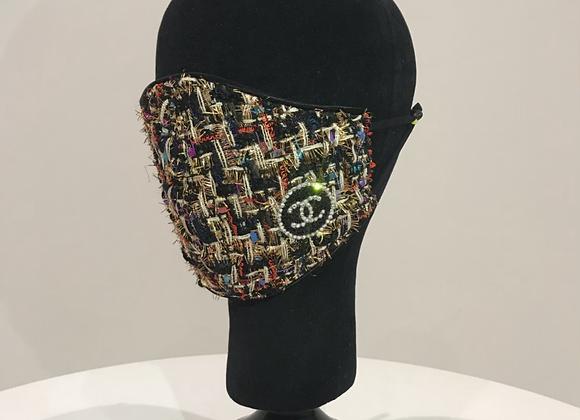 CHANEL, Black Multi Color Tweed, 1(S) Round logo, Swarovski Crystals,face mask