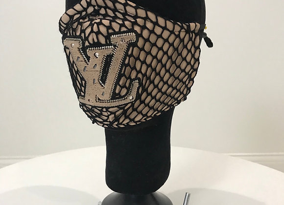 LV, Fishnet Tan, Chenille Patch, GLAMical face mask