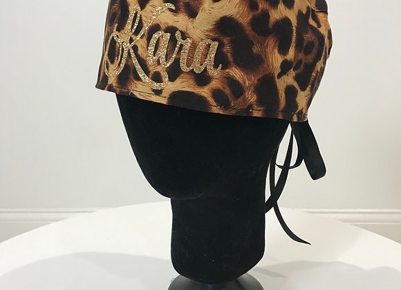 Leopard, sparkle flocking, GLAMical Scrub Cap