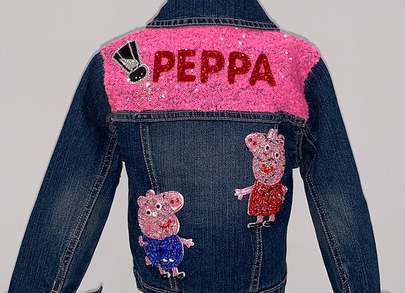 PEPPA PIG, L/S denim jacket, Swarovski Crystals