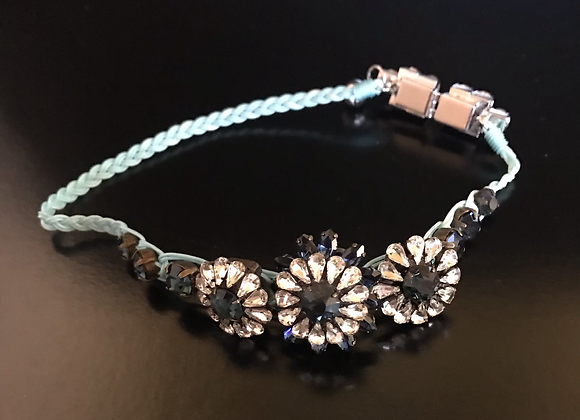 Bracelet / Choker, Flowers, Crystals, Dark Blue