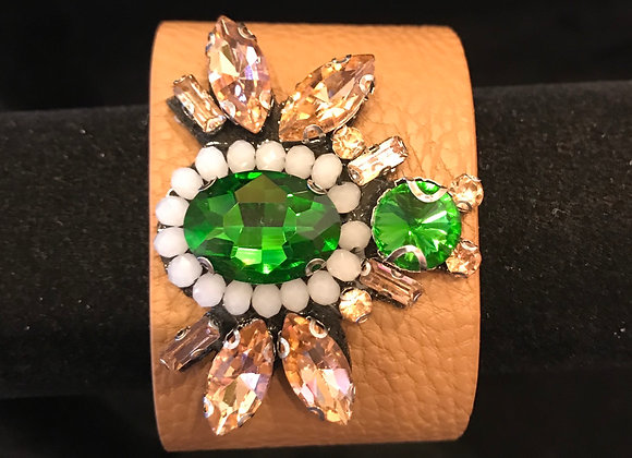 Bracelet, Leather Cuff, Beige, Emerald Green Crystals Bumble Bee