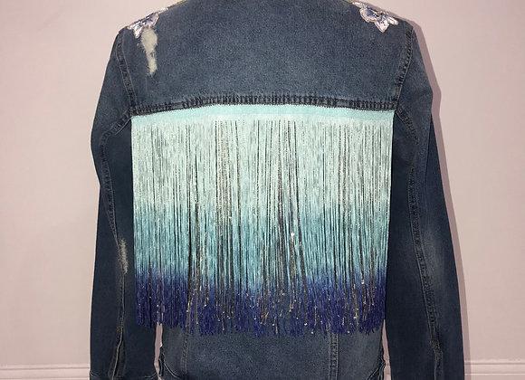 Ladies Blue Denim Jacket, Ombre Beaded Fringe, Swarovski Crystals