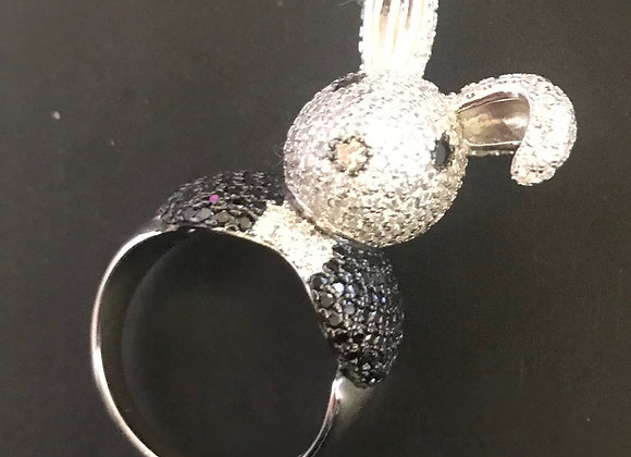 Ring, Bunny, Cubic Zirconia - Clear/Black