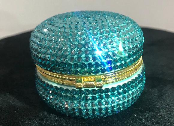 PILL CASE, Macaroon, Ceramic, Aqua Blue/Blue, Swarovski Crystals