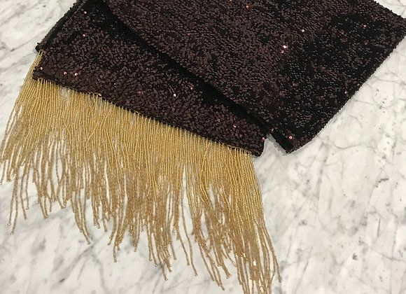 Table Runner, Brown Sequin, Beaded Fringe