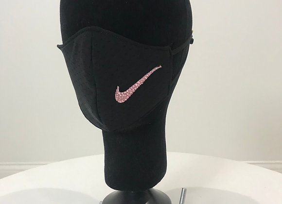 NIKE, Black Jersey, Pink logo, GLAMical face mask, Swarovski Crystal