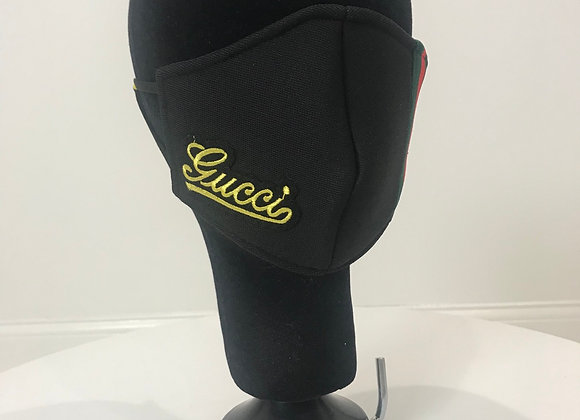 GUCCI, Black Neo Prene, (S)Gold Cursive patch-RG Stripe, GLAMical face mask