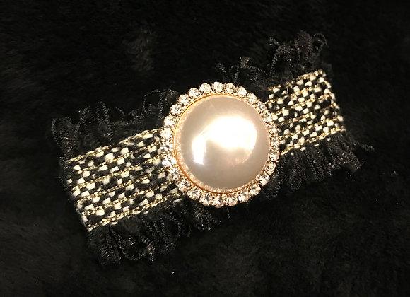 Hair Clip, Black Tweed Fabric, Rectangle, Pearl