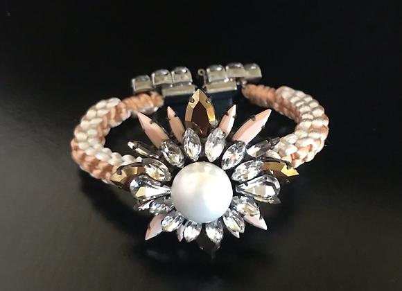 Bracelet, Flower, Crystals, White/Peach