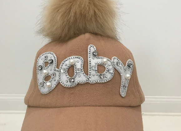 BABY, Tan Baseball Hat, Pearls & Crystals, Faux Fur Pom