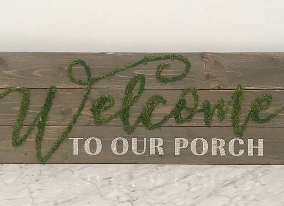 """""""Welcome to our porch"""" Wood, Wall Art, Swarovski Crystals"""