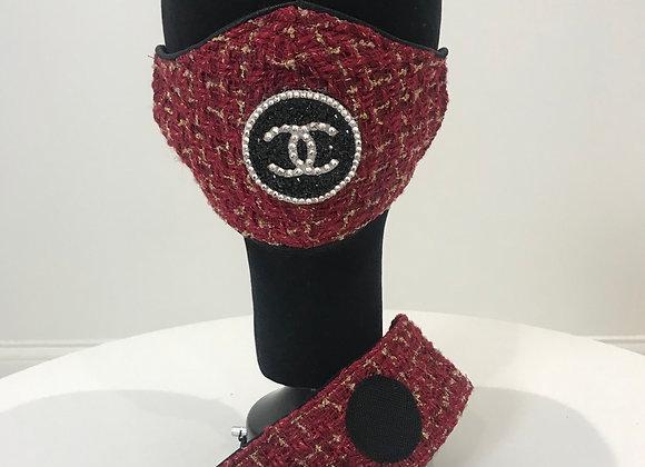 CHANEL, Tweed (L)Round logo, Swarovski Crystals, GLAMical face mask/Headband Set