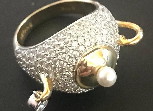 Ring, Tea Pot, Cubic Zirconia - Clear