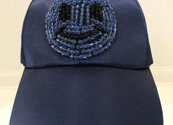 HAPPY FACE, Blue Satin, Baseball Hat, Jewels/Beads