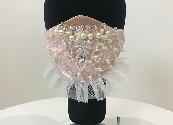 Wedding, Flower Girl, Pink Lace, Pearls, GLAMical face mask