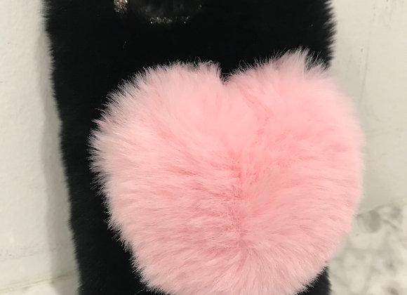 CELL PHONE CASE. Pink Heart, Black Rabbit Fur, iphone 8 Plus